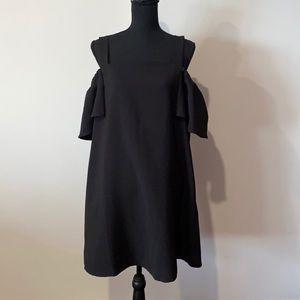 French Connection Off Shoulder Dress Black AU 14 Pre Owned EC Polyester